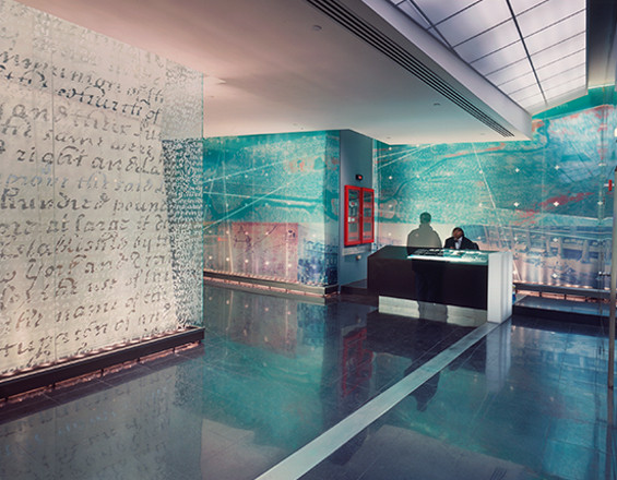 A picture of a Varick Street lobby installation by Townsend Design, designed by Studios Architecture.